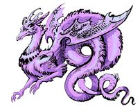 Purple winged dragon in asia style. With a long tail on a white background stock illustration