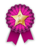 Purple winner rosette vith gold star Royalty Free Stock Image