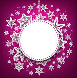 Purple winter background with snowflakes. Royalty Free Stock Images