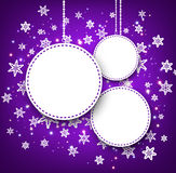 Purple winter background with snowflakes. Stock Photos