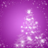 Purple winter holidays greeting card background with Christmas tree. Vibrant shiny purple winter holidays greeting card background with white Christmas tree and Royalty Free Stock Image