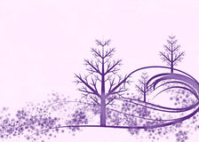 Purple Winter Scene on Pink Background Stock Photos