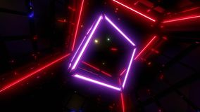Purple wireframe cube animation vjloop with redlights in background, vector illustration