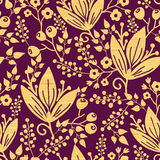Purple wooden flowers seamless pattern background Royalty Free Stock Photography
