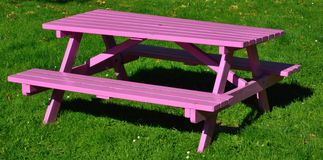 Purple wooden picnic bench Stock Photography