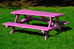Purple wooden picnic bench Stock Images