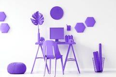 Purple workspace interior inspiration royalty free stock photos