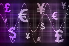 Purple World Currencies Business Abstract. Background Wallpaper Royalty Free Stock Photography