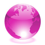 Purple world. Glossy purple world on white stock illustration