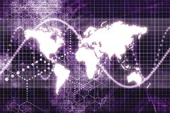Purple Worldwide Business Communications Stock Photo
