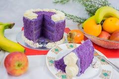 Purple Yam cake + Fruit. royalty free stock images