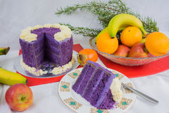 Purple Yam cake Royalty Free Stock Images