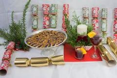 Purple Yam cake, sweets,fruits, xmas presents, display. Royalty Free Stock Photo