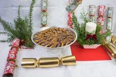 Purple Yam cake, sweets,fruits, xmas presents, display. Stock Photo