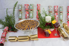 Purple Yam cake, sweets,fruits, xmas presents, display. Stock Photos