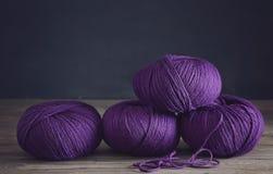 Purple yarn, close up stock image