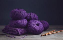 Purple yarn, close up royalty free stock photos