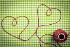 Purple Yarn Drawn Hearts Royalty Free Stock Photo