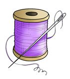 Purple yarn with a needle(color) Royalty Free Stock Photography