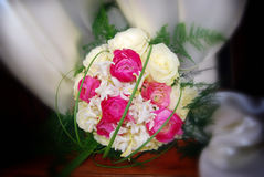 Purple and yelllow roses wedding bouquet. With the blur background Stock Images