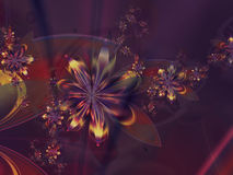 Purple Yellow Abstract Flower Fractal Background Royalty Free Stock Images