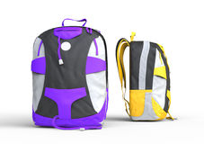 Purple and yellow backpacks Stock Images