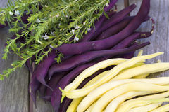 Purple and yellow beans lying on a wooden table Stock Images