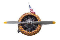 Purple and Yellow Check AT-6 Texan Engine and Propeller royalty free stock images