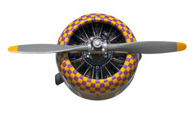 Purple and Yellow Check AT-6 Texan Engine and Propeller Royalty Free Stock Photos