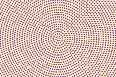 Purple yellow dotted halftone. Halftone  background. Radial frequent dotted pattern. Retro futuristic texture. Violet dot on transparent backdrop. Abstract Stock Images