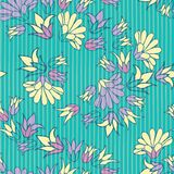 Purple Yellow Flowers Seamless Vector Repeat Pattern Background vector illustration