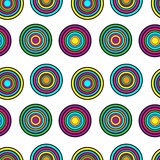 Purple, yellow and green circles seamless vector pattern. Stained glass circles mosaic purple, green, yellow and pink colors on blue background Royalty Free Stock Photos