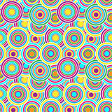 Purple, yellow and green circles seamless vector pattern. Royalty Free Stock Photo