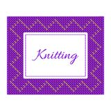 Purple with yellow knitted card Royalty Free Stock Photo