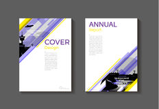 Purple and yellow  modern  cover book Brochure template, design, Royalty Free Stock Image