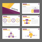 Purple and yellow multipurpose Brochure flyer leaflet website template flat design Stock Photography