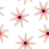 Purple yellow pink blossoms, seamless periodic floral pattern,  flowers, transparent background. Stock Photos