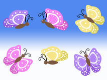 Purple yellow and pink spring butterfly illustrations with blue and white background. Purple yellow and pink spring flying butterfly illustrations with blue and Royalty Free Stock Images