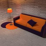 Purple and yellow sofa and the lamp Royalty Free Stock Image