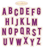 Purple and yellow stitch alphabet Royalty Free Stock Photo
