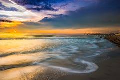 Purple Yellow Sunset Sky Fort De Soto Gulf Pier  Tierra Verde, F Royalty Free Stock Image