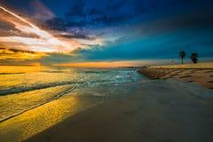 Purple Yellow Sunset Sky Fort De Soto Gulf Pier  Tierra Verde, F Stock Photography