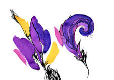 Purple and yellow watercolor stains Royalty Free Stock Images