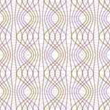 Purple and yellow waves on white background. Seamless vector strip patterns in pastel colors, regular geometric ornament Stock Images
