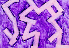Purple zigzag wax painting Royalty Free Stock Photo