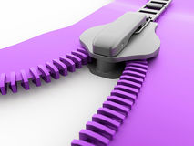 Purple zip rendered. On white background Royalty Free Stock Photos