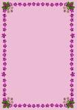PurpleBlossomsFrameDinPink2 Stock Afbeeldingen
