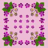 PurpleBlossomsNapkinPink1 Royalty Free Stock Image