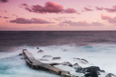 Purpled Sea. Sunset at Terceira Island, Azores Stock Images