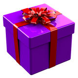 Purplegift-Kasten band rotes Band mit einem Bogen Lizenzfreie Stockbilder
